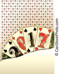 New 2017 year casino banner with poker cards, vector...