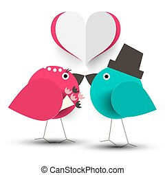Kissing Birds. Vector Romantic Illustration with Paper Cut...