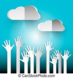 Hands on Sky. Paper Cut Vector Hands with Clouds on Blue Sky.