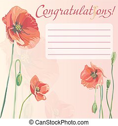 Congratulation card with poppies - Congratulation card with...