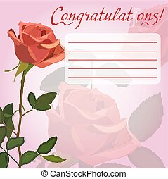 Congratulation card with rose - Congratulation card with...