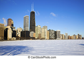 Gold Coast winter time - seen accross frozen Lake Michigan
