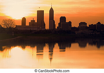 Morning silhouette of Indianapolis, Indiana, USA