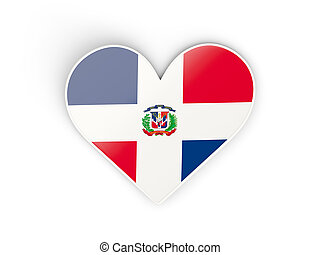 Flag of dominican republic, heart shaped sticker isolated on...