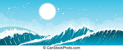 Stormy seascape background - Stormy sea background with...
