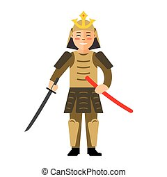 Vector Samurai japan. Flat style colorful Cartoon illustration.