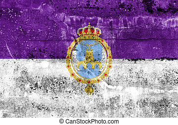 Flag of Loja, Spain, painted on dirty wall