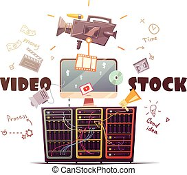 Video Microstock Industry Concept Retro Illustration - Video...
