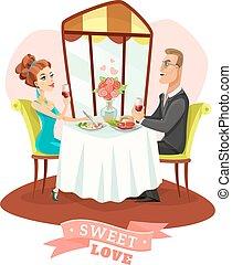 Couple Having Romantic Dinner In Restaurant