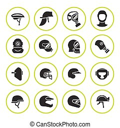 Set round icons of helmets and masks isolated on white....