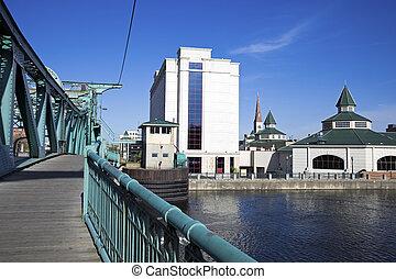 Downtown Joliet, Illinois, USA - seen from the bridge.