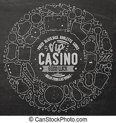 Set of Casino cartoon doodle objects, symbols and items