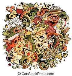 cibo, illustrazione, hand-drawn, doodles, cartone animato,...