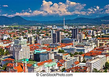 Aerial skyline of Ljubljana city, capital of Slovenia