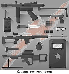 Vector set of swat, police gear. Icons of army combat...