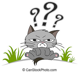 Thinking cat with questions mark ab