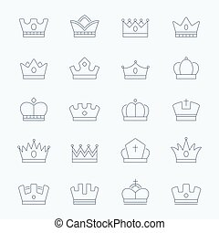 Crown vector outline stroke icons