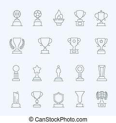 Trophy Awards outline stroke icons set