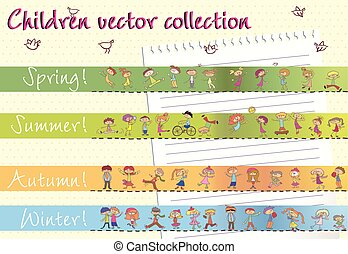 Collection of children vector in different seasons. EPS10