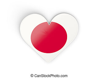 Flag of japan, heart shaped sticker