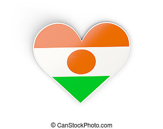 Flag of niger, heart shaped sticker isolated on white 3D...
