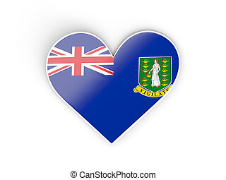 Flag of virgin islands british, heart shaped sticker...