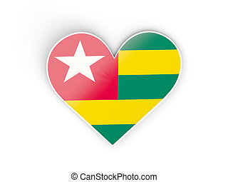Flag of togo, heart shaped sticker isolated on white 3D...