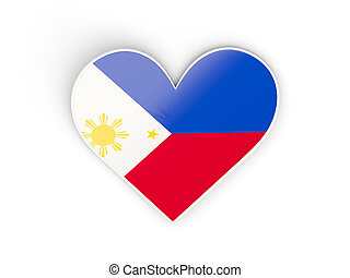 Flag of philippines, heart shaped sticker isolated on white...