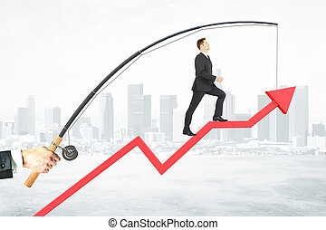 Success concept - Businessman walking on abstract red arrow...