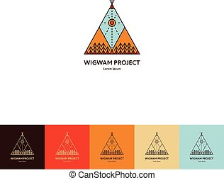 Set of wigwam logo. Colorful and line style. Indian teepee...