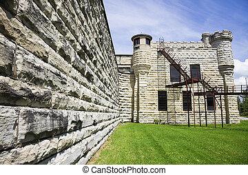 Walls of historic Jail in Joliet, Illinois - suburb of...