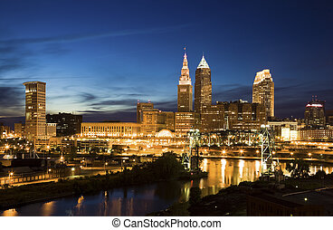 Night in downtown Cleveland, Ohio.