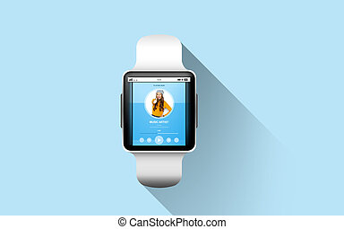 close up of smart watch with music - modern technology,...