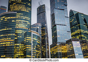 Skyscrapers of Moscow city business center.