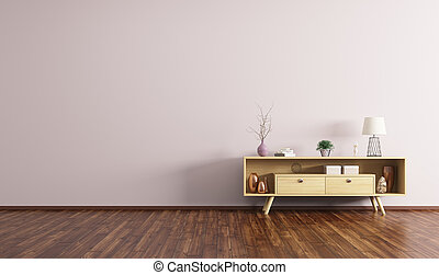 Interior with wooden sideboard 3d rendering - Modern...