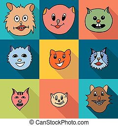 Set of cats icons - Set of flat popular breeds of cats...