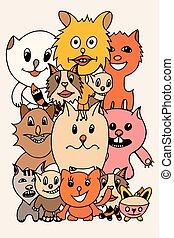 set of cute cat cartoon - Set of cute cat cartoon. Vector...