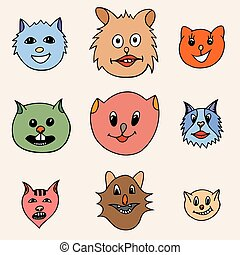 Adorable Cartoon Cats Faces - Set Of Different Adorable...