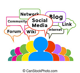 group of Communication Network Social Media Business People talk in colorful speech bubbles.