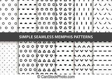 Collection of simple seamless geometric patterns. Memphis...