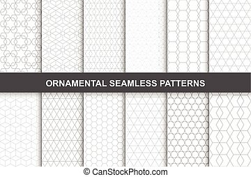 Collection of ornamental geometric seamless patterns in vintage style.