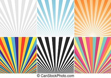 Collection of abstract colorful striped backgrounds.