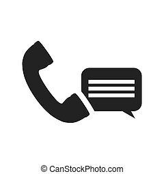 telephone handset icon - telephone handset with speech...