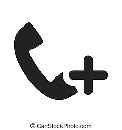 telephone handset icon - telephone handset with plus icon...