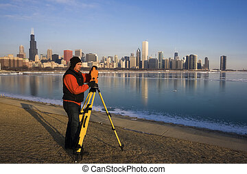 Surveying in Chicago - winter time.