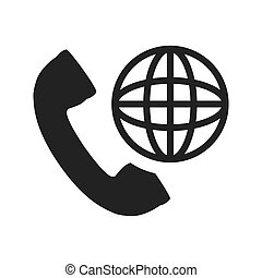 telephone handset icon - telephone handset with global...