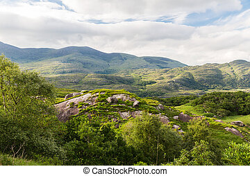 view to Killarney National Park hills in ireland - nature...