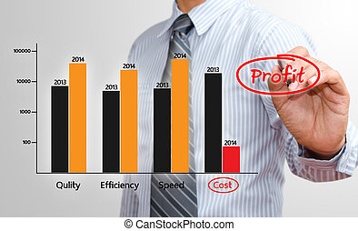 Businessman writing profit chart in 2014