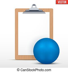 Coaching blank clipboard and fitball. Editable Vector...