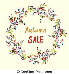 Autumn sale card with wreath of leaves and flowers